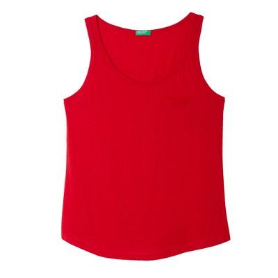 Plain Crew Neck Vest Top with Shoestring Straps BENETTON