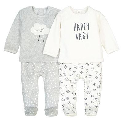 Pyjama 2 pièces, velours, 0 mois-3 ans (lot de 2) La Redoute Collections