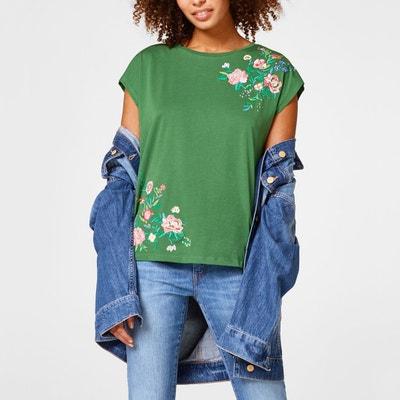 T-shirt met bloemenprint, ronde hals, korte mouwen ESPRIT