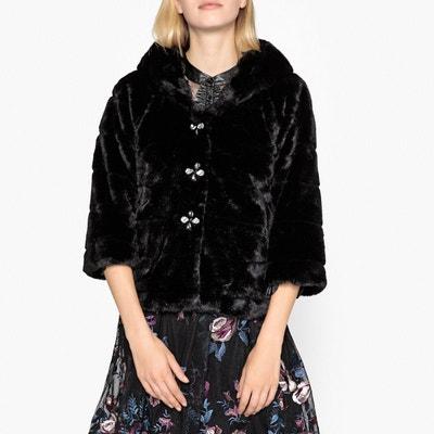 Manteau à capuche, aspect fourrure et strass LIU JO