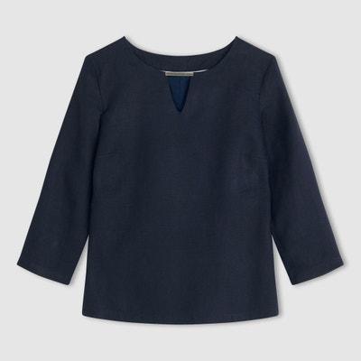 Bluse, gerade Form, 3/4-Ärmel, Leinen Bluse, gerade Form, 3/4-Ärmel, Leinen R essentiel