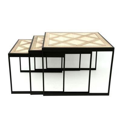 lot de 3 tables gigognes bois mtal motifs gomtriques 555 cm lot de 3