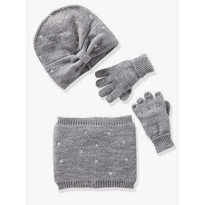 9959e4962b3 Bonnet fille + snood + gants ou moufles brodés VERTBAUDET