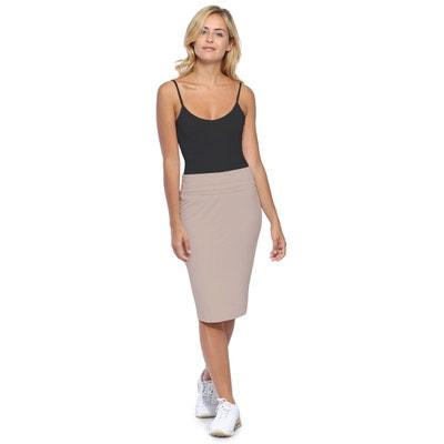 Jupe longueur genoux ceinture large élastique en modal AELIS2 Jupe longueur  genoux ceinture large élastique en 2ddb1a3ed869
