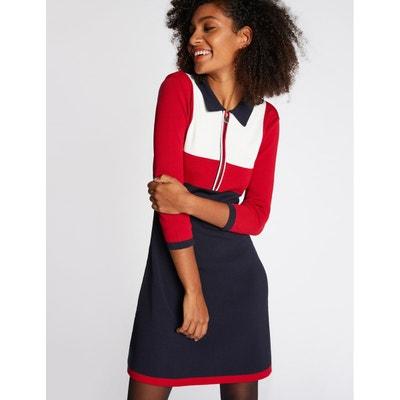 Robe évasée tricolore col chemise zippé Robe évasée tricolore col chemise zippé MORGAN