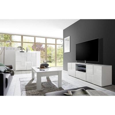 Meuble TV design laqué blanc 180cm KUBE MILIBOO