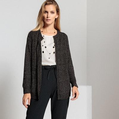 Cardigan scollo rotondo, maglia grossa, fili metallizzati Cardigan scollo rotondo, maglia grossa, fili metallizzati ANNE WEYBURN