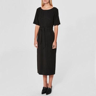 Short-Sleeved Belted Midi Dress Short-Sleeved Belted Midi Dress SELECTED FEMME