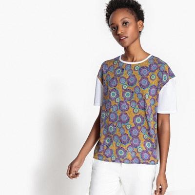 Bedrucktes T-Shirt, Materialmix Bedrucktes T-Shirt, Materialmix La Redoute Collections