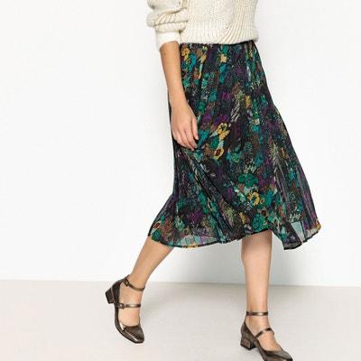 Falda plisada con estampado de flores, largo midi Falda plisada con estampado de flores, largo midi SEE U SOON