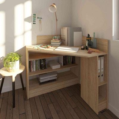 Bureau d'angle en bois imitation naturel avec niche de rangement - BU6010 TERRE DE NUIT
