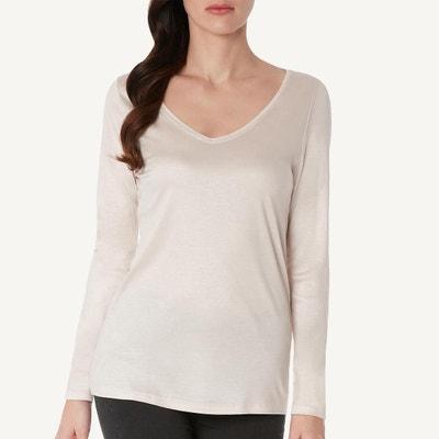 8027d1a6addef T-Shirt manches longues en et soie col en v T-Shirt manches longues. Soldes