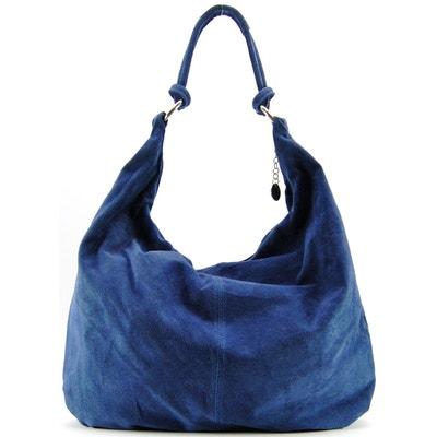 OH MY BAG Sac à Main en CUIR femme porté main, épaule et bandoulière Modèle Paris bleu foncé Soldes