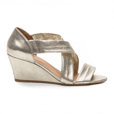 Sandalen met sleehak, goudkleur, Vika/Met Sandalen met sleehak, goudkleur, Vika/Met COSMOPARIS