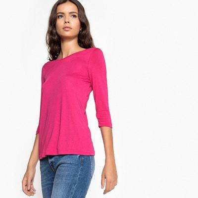 Tee shirt col V devant et dos, manches 3 4 La Redoute Collections d5e4003f3227