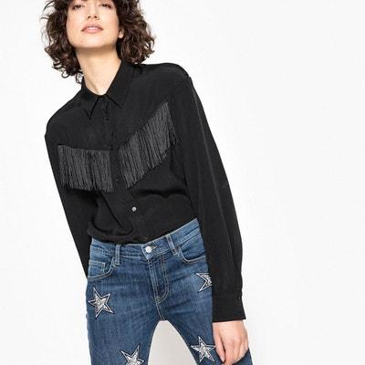 Chemise à franges, col polo, manches longues La Redoute Collections