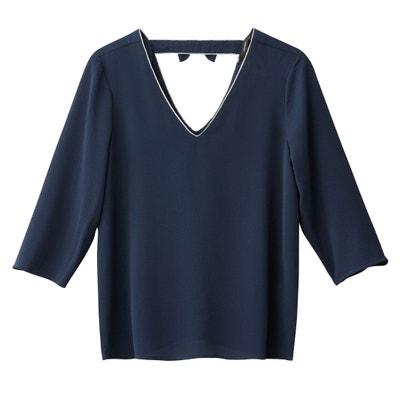Blusa lisa con cuello de pico, manga 3/4 VERO MODA