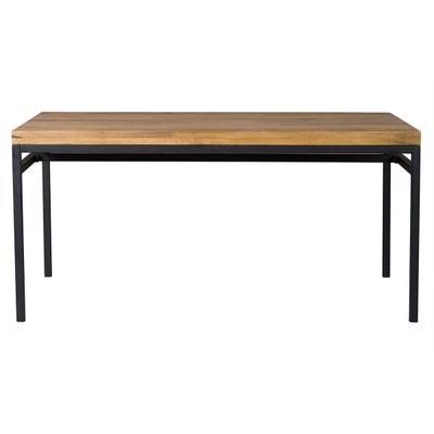 Table à manger industrielle 160x90cm manguier brut et métal YPSTER Table à manger industrielle 160x90cm manguier brut et métal YPSTER MILIBOO