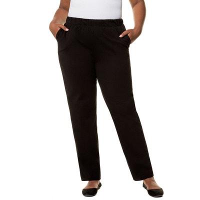 Pantalon uni droit et élastiqué mélange coton ULLA POPKEN 2b7ada0b94e7
