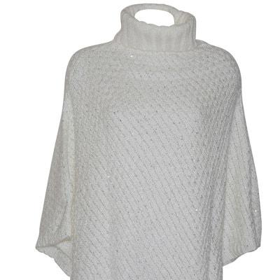 Poncho pull blanc pailleté CHAPEAU-TENDANCE
