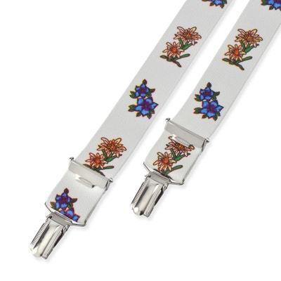 Bretelles Edelweiss et campanule fond blanc - 2,5 cm DANDYTOUCH