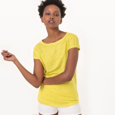 T-shirt de gola redonda, linho T-shirt de gola redonda, linho La Redoute Collections