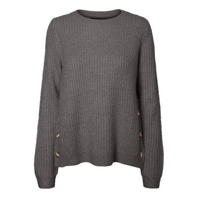 Пуловер с круглым вырезом из рифленого трикотажа, пуговицы по бокам Пуловер с круглым вырезом из рифленого трикотажа, пуговицы по бокам VERO MODA