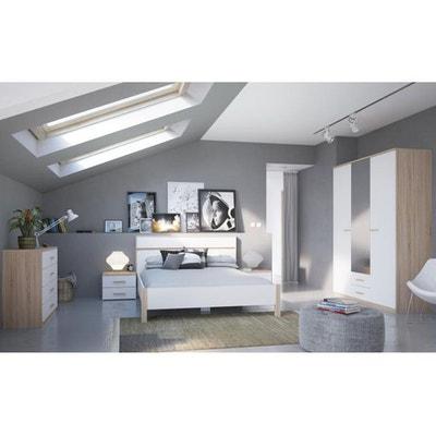 Chambre Complète Chêne MARIA Lit 140x190 + 2xTable de Chevet 2 tiroirs + Commode 4 Tiroirs + Armoire 3 Portes 2 Tiroirs DEMEYERE