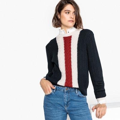 Driekleurige trui met ronde hals, wol Driekleurige trui met ronde hals, wol La Redoute Collections