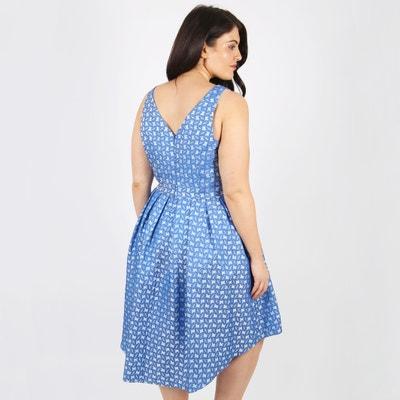 Wijd uitlopende jurk, jacquard print, halflang Wijd uitlopende jurk, jacquard print, halflang KOKO BY KOKO
