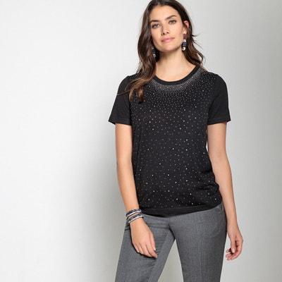 Crew Neck T-Shirt with Pretty Diamanté Detail Crew Neck T-Shirt with Pretty Diamanté Detail ANNE WEYBURN