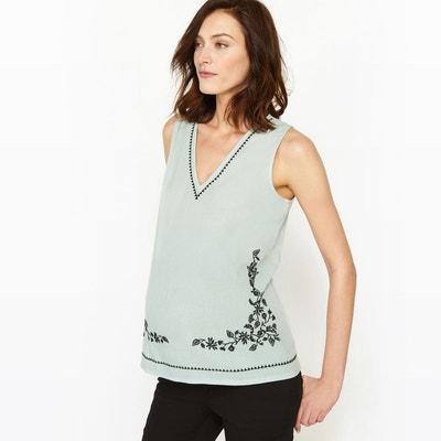 T-shirt de grossesse, bi-matière, détail broderie T-shirt de grossesse, bi-matière, détail broderie La Redoute Maternité