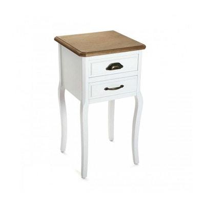 table de chevet classique 2 tiroirs blanc et bois versa