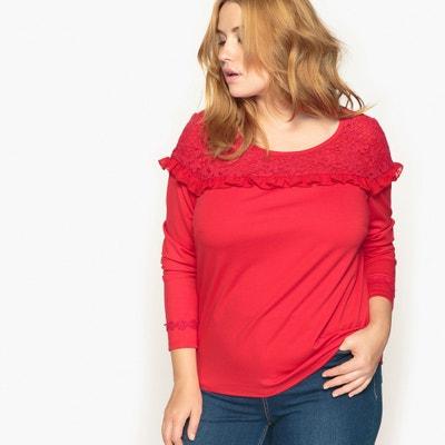 Shirt, runder Ausschnitt, uni, Volants, lange Ärmel CASTALUNA