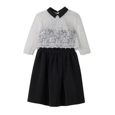 Ausgestelltes Kleid, Materialmix, oberer Teil und Ärmel aus Spitze Ausgestelltes Kleid, Materialmix, oberer Teil und Ärmel aus Spitze MADEMOISELLE R