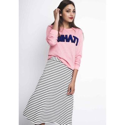 Striped 3/4 Length Midi Pencil Skirt Striped 3/4 Length Midi Pencil Skirt COMPANIA FANTASTICA