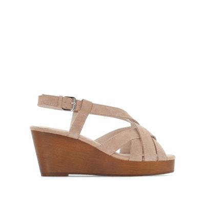 Sandaletten, Leder, Keilsohle aus Holz, weite Passform, Gr. 38-45 CASTALUNA