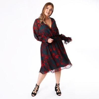 Langärmeliges Kleid mit V-Ausschnitt und Volantdetails Langärmeliges Kleid mit V-Ausschnitt und Volantdetails KOKO BY KOKO