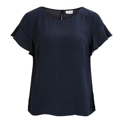 Plain Short-Sleeved Round Neck Blouse VILA
