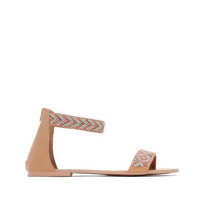 Sandales cuir compensées détail perles et franges - MADEMOISELLE R - RougeMademoiselle R GukKlrKfiQ