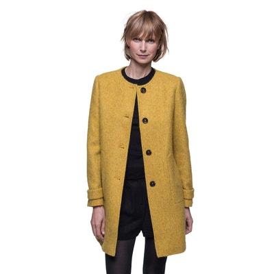 a7276aeda9073 Manteau sans col en tissu poilu laine et alpaga TRENCH AND COAT. Soldes