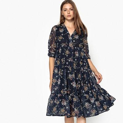 Sukienka rozkloszowana, w kwiaty, długość midi, 3/4 Sukienka rozkloszowana, w kwiaty, długość midi, 3/4 SEE U SOON