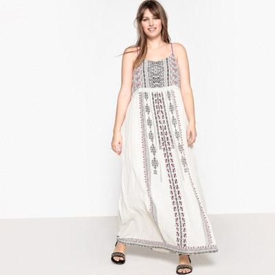 Tribal Print Maxi Dress with Shoestring Straps CASTALUNA