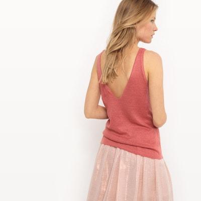 Camiseta sin mangas, escote de pico, lino La Redoute Collections