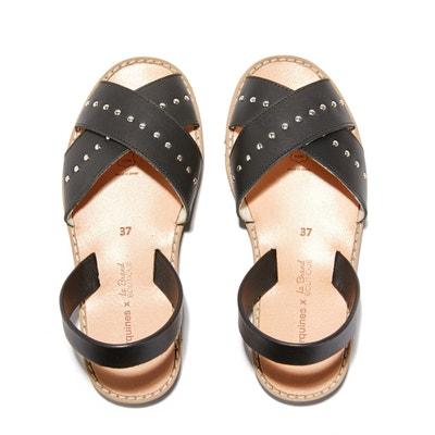 Avarca Rock Flat Leather Open Toe Sandals MINORQUINES