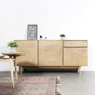 buffet bois massif scandinave 3 portes 1 tiroir hc69 made in meubles - Meuble Nordique
