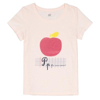 "T-shirt ""pomme"" toucher velours 3-12 ans T-shirt ""pomme"" toucher velours 3-12 ans La Redoute Collections"