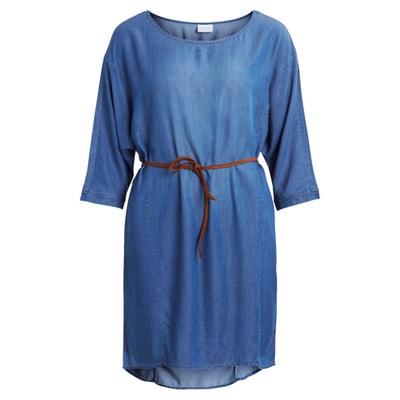Plain Short Skater Dress with 3/4 Length Sleeves VILA