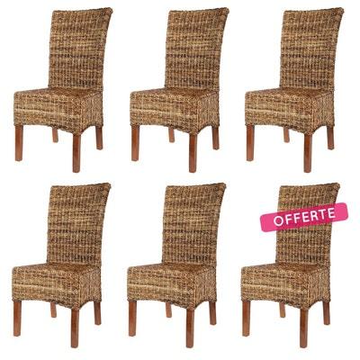 lot de 6 chaises elips en abaca rotin design - Chaise En Rotin