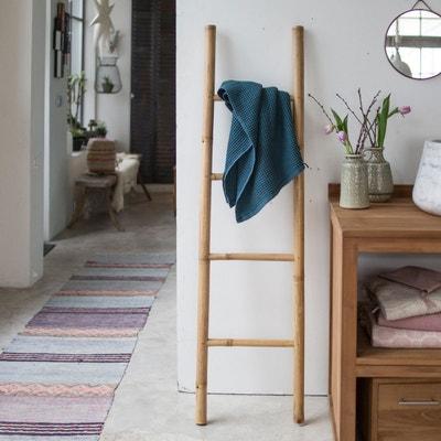 Echelle porte serviette de salle de bain en bambou naturel TIKAMOON